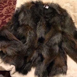 H&M Brown, Black & Chocolate Color Furry Jacket!
